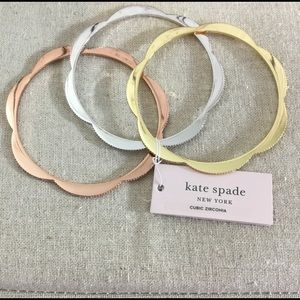 3PC Kate Spade Slender Scallop Bangle Bracelet Set